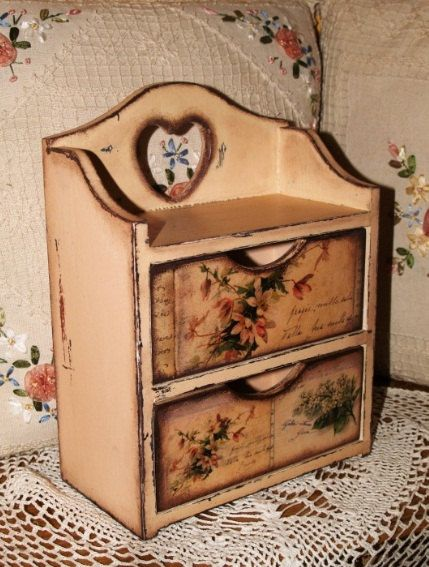 Handmade commode cabinet box for spices tea bags for Commode style shabby chic
