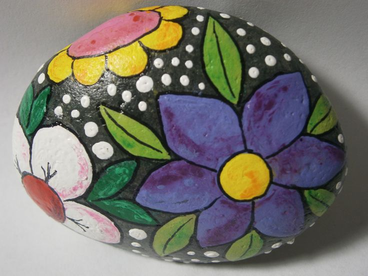 """Painted Rock """"Flowers"""" at www.PlaceForYou.Etsy.com"""