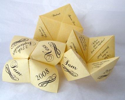menu cocotte en papier / jeux pour les invités / des questions rigolotes et autres sujets de conversation ...