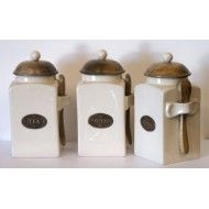 Country Kitchen Tea, Coffee and Sugar Canisters