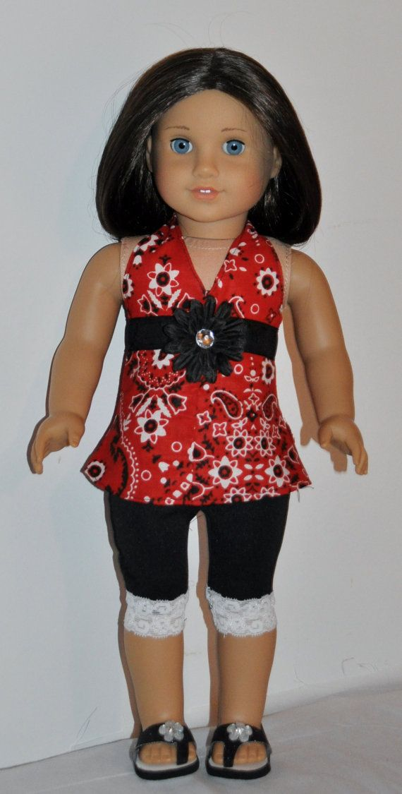 Red and black capri outfit  that fits by DOLLYDUDSBYBECKIE on Etsy, $14.99