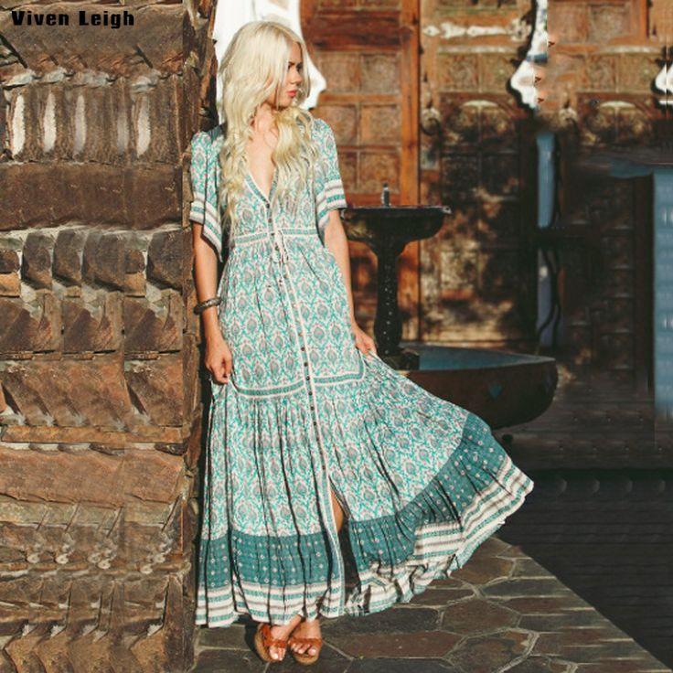 Boho Long Dress 2018 Green Floral Print Elegant Ladies Short Sleeve Beach Wear Summer Dress chic Women Dress vestidos de festa