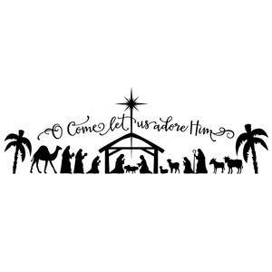 Silhouette Design Store: o come let us adore him large nativity