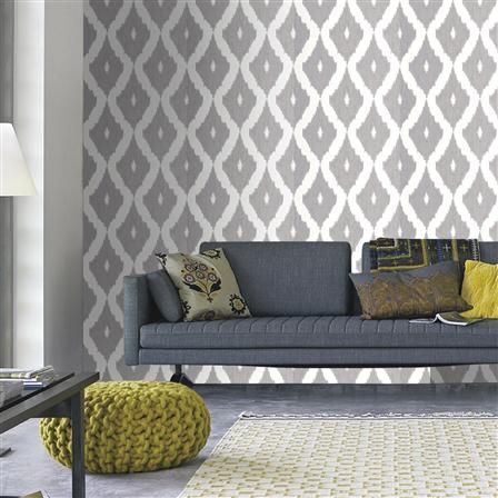 ACHICA | Kelly Hoppen Ikat Wallpaper, Soft Grey