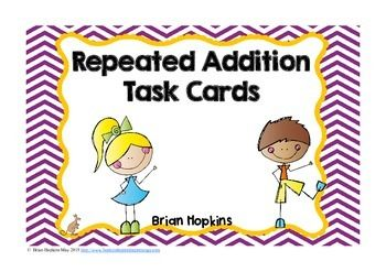 """FREEBIE This is a set of 18 repeated addition task cards that fit perfect with 2nd grade Common Core Standards.  The product can be used to create multiplication equations, but the answer key fits repeated addition (2nd grade standard).  These can be used for math centers, the game """"Scoot"""", """"Quiz, Quiz, Trade"""", small groups, early finishers, or any other way you see fit."""