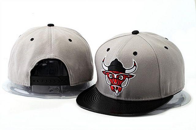 NBA Snapback Hats Chicago Bulls Hats Gray Brim Black 964