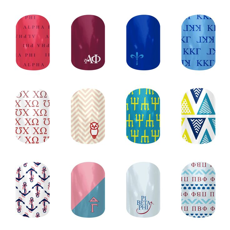 We are very excited to announce the expansion of our Collegiate line to include sororities! Now you can celebrate sisterhood all the way to the tips of your fingers and toes.  Featuring designs for: Alpha Phi Kappa Kappa Gamma Chi Omega Delta Delta Delta Delta Gamma Pi Beta Phi  Check back often to see our ever growing line of Collegiate & Sorority nail wraps.