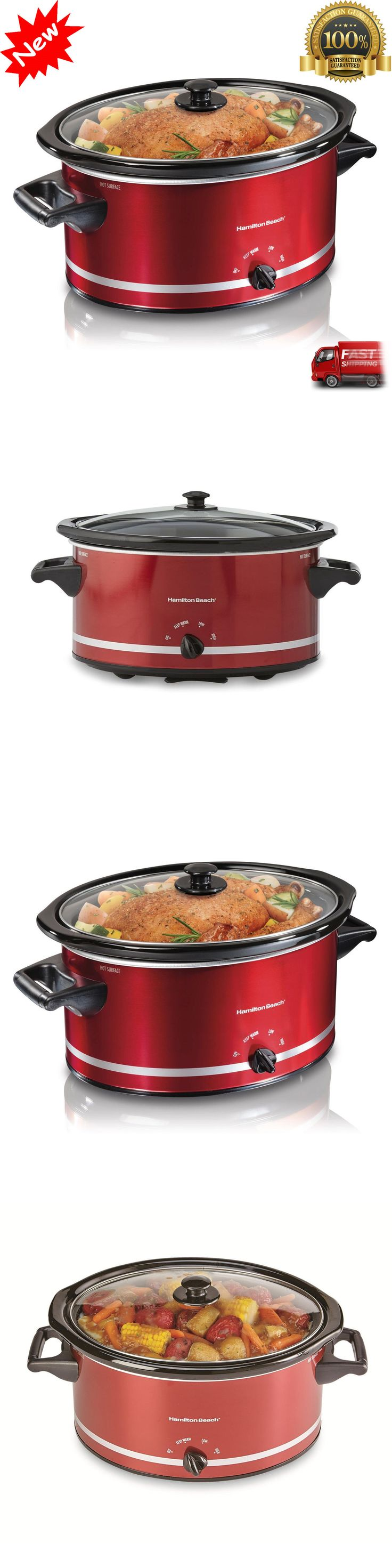 appliances: New Crockpot Hamilton Beach Slow Cooker Large 8 Quart Extra Red Oval Crock Pot BUY IT NOW ONLY: $89.97