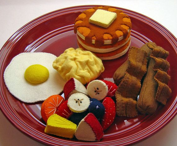 Pretend Play Food Wool Felt Breakfast Set Waldorf Inspired Play Kitchen Accessory For Children