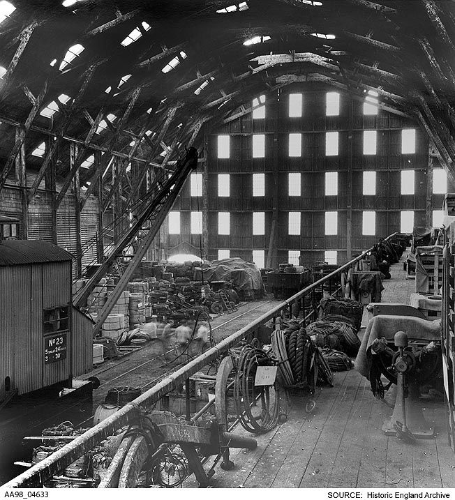 AA98/04633  Eric De Mare.   Interior view of the boat store at Chatham Naval Dockyard, Chatham, Medway.  Date1956 Photographer: Eric De Mare