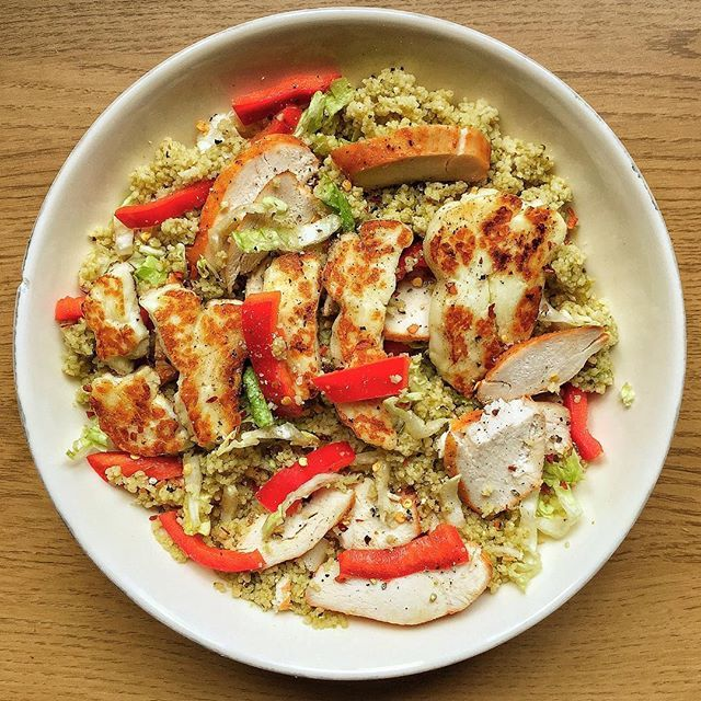 lunch today was an absolute DREAM! fluffy green pesto cous cous with @musclefooduk BBQ chicken breasts, and fried halloumi, SO GOOD! the best part? took me about 5 minutes max to make and i have enough for two days worth  i baked the chicken breasts a couple of days ago so they were good to go, and with couscous you literally just add water and cover so i only had to prep the fresh salad and fried halloumi  don't be afraid to branch out and try new things. i had a quick look what ...