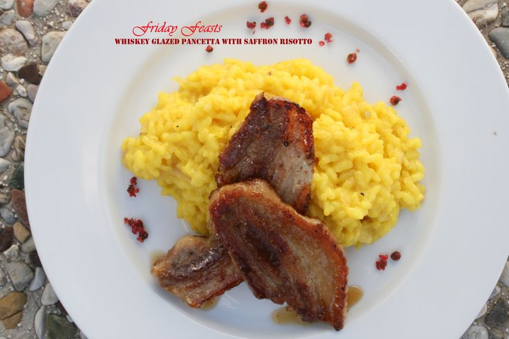 Whiskey-Glazed Pancetta with Saffron Risotto  4 Recipes for a Non-Traditional Italian Christmas Dinner | Friday Feasts  http://2via.me/jaUWhXJL11