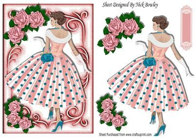 Pretty lady in polka dot dress with pink roses on Craftsuprint - Add To Basket!
