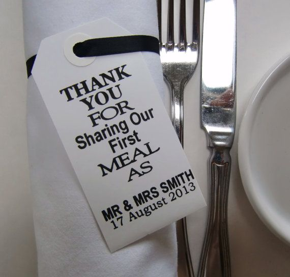 Wedding Napkin Holders-Wedding Table Decor-Elegant WhiteTags-Thank You for Sharing Our First Meal-Set of 50-Unique Wedding Favors on Etsy, 354:73kr