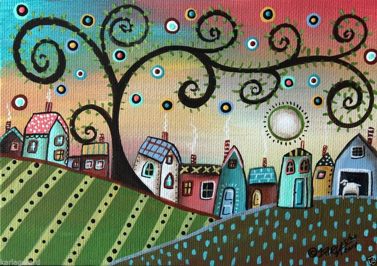 Village 5x7 inches Houses Sheep ORIGINAL Canvas Panel PAINTING FOLK ART Karla G...new, now for sale, start your collection today...