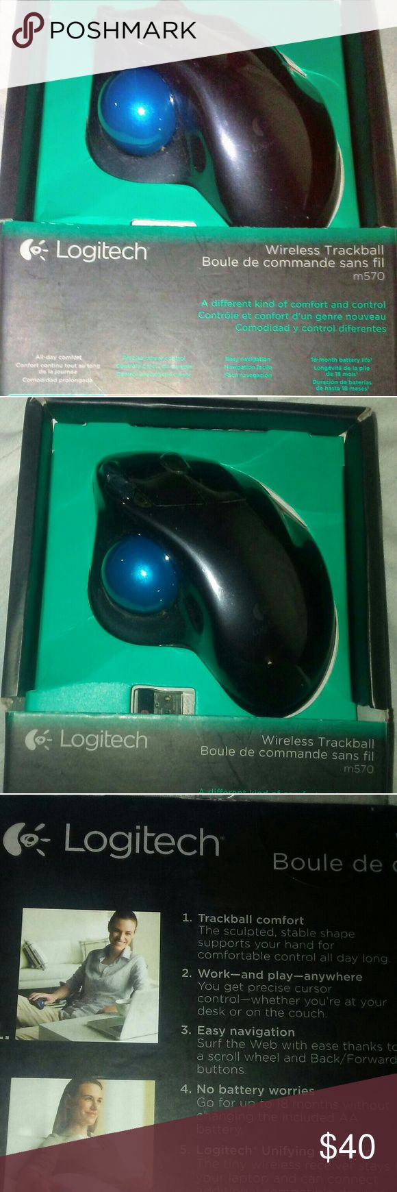 NWT Logitech wireless trackball mouse This is a great mouse its wireless and makes things like drawing or web design and even web surfing so much easier, it does not need a mouse pad to work. And its brand new in box. logitech Other