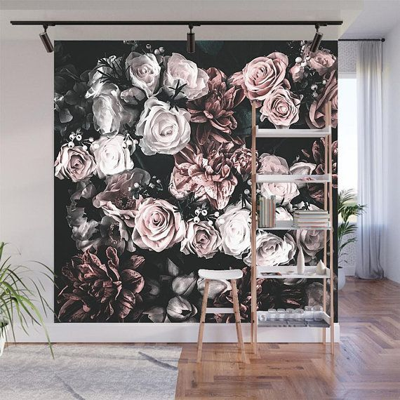 Floral Wallpaper Dark Floral Wallpaper Removable Wallpaper Self Adhesive Wallpaper Floral Wall Mural Dark Mural Peel And Stick Mural Bouquet Etsy Wallpapers Wallpaper Accent Wall Floral Wallpaper Wall Murals