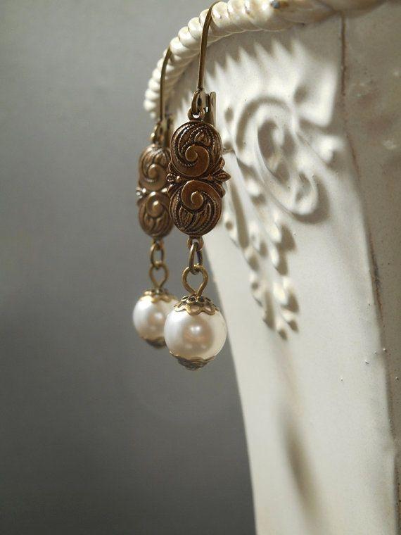 Edwardian Pearl Earrings  Titanic Jewelry  Dainty Earrings