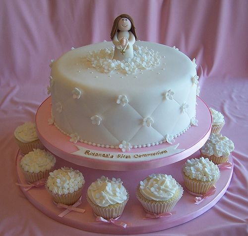 First Communion Cake and Cupcakes by cakespace - Beth (Chantilly Cake Designs), via Flickr
