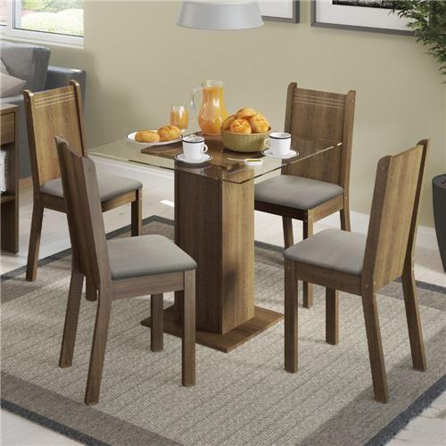 Mesa de Jantar com 4 Cadeiras Magda Madesa Rustic/Pérola