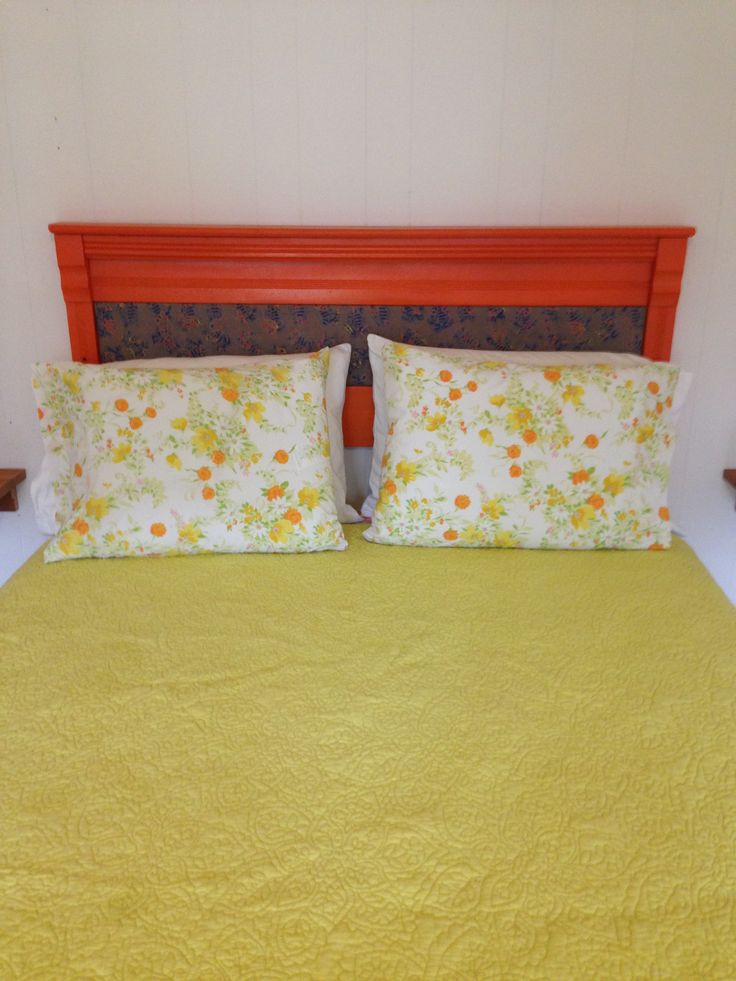 Orange headboard with custom batik sea turtle uphulstury # ...