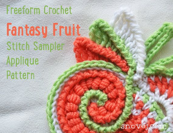 PATTERN Freeform Crochet Stitch Sampler Applique Scrumble