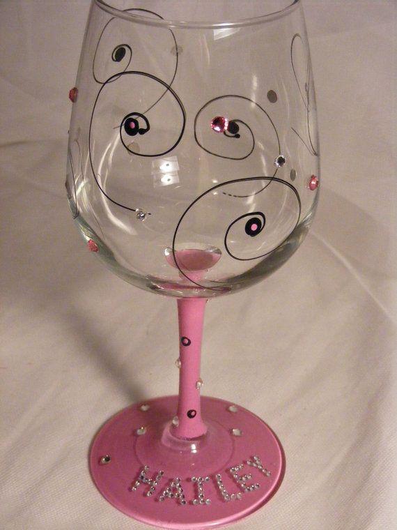 Golden Girl Birthday Bling Wine Glass Large 18oz Wine