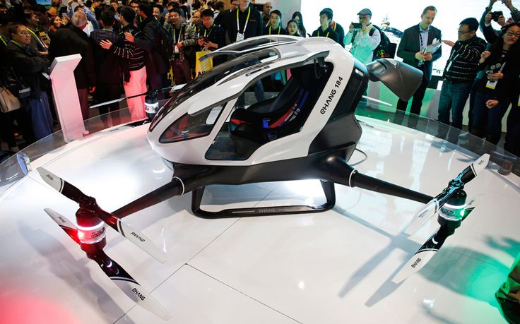 The Ehang 184, unveiled at CES in Las Vegas, is designed to carry a single   person up to 10 miles