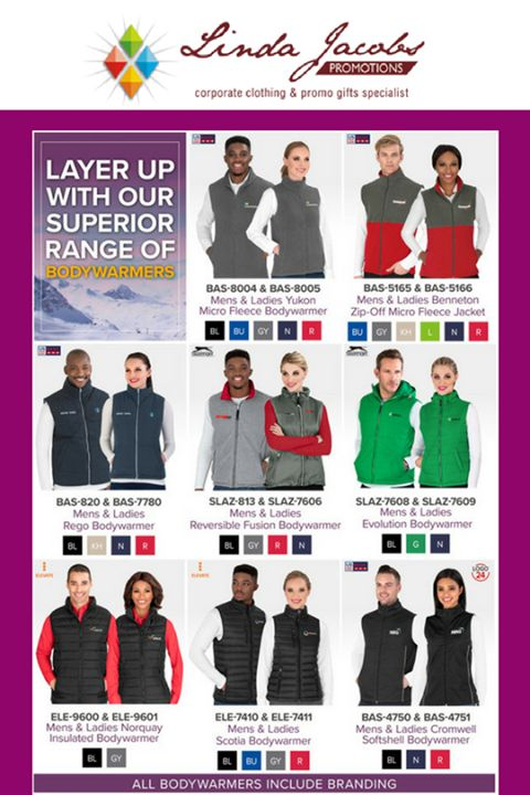 With winter now in full swing, make sure you're geared up for the cold weather with layering options from our essential range of bodywarmers. Available in an assortment of colours and styles, we've got you covered! For added brand exposure, all bodywarmers include your choice of branding. 🧥🧣  * MINIMUM QUANTITIES APPLY   For more info -  See more products on our website - http://www.lindajacobspromotions.co.za/  Email: linda@lindajacobspromotions.co.za...  Call us - 083 6280181 | 021 557…