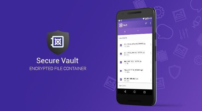 A mobile device with Secure Vault app opened (an encrypted