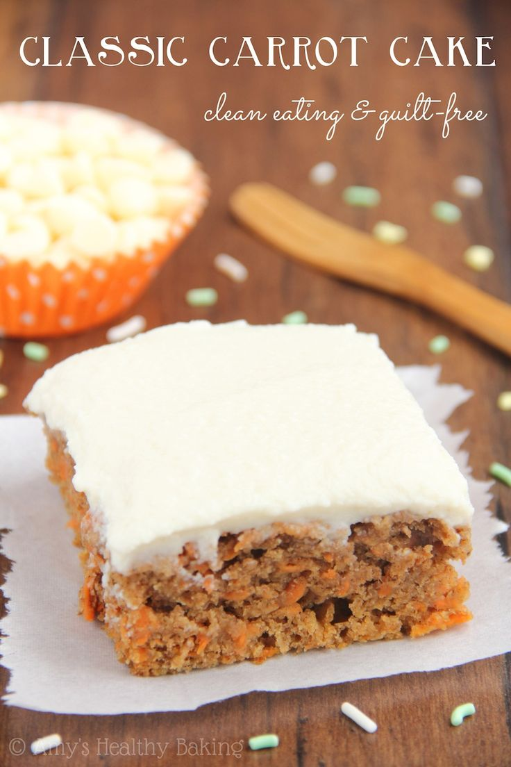 Classic Carrot Cake -- a healthy & easy, no-mixer-required recipe. The BEST one I've ever eaten! It even has no butter, refined flour or sugar!