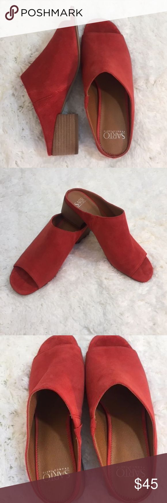 "NWOT Franco Sarto Red Suede Mule NWOT Suede. The color is red/orange color. Very pretty and super comfy!  Size: 8 1/2 Heel Height: 1 3/4"" Franco Sarto Shoes #mules & Clogs"