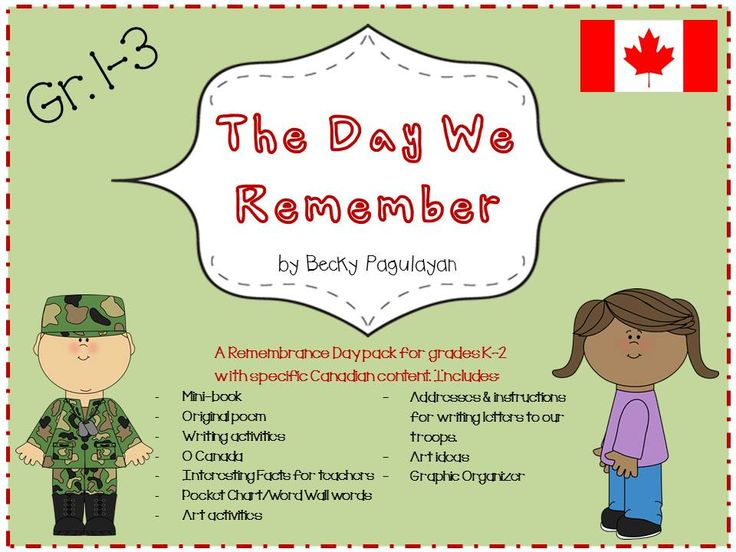 This is my brand new Canadian Remembrance Day unit for Grades 1-3. Enjoy 20 pages of Remembrance Day activities including writing prompts, poetry, graphic organizer, art ideas, Remembrance Day facts for teachers, instructions for how to write to our Canadian troops and an original, printable take-home book for your students. Enjoy!