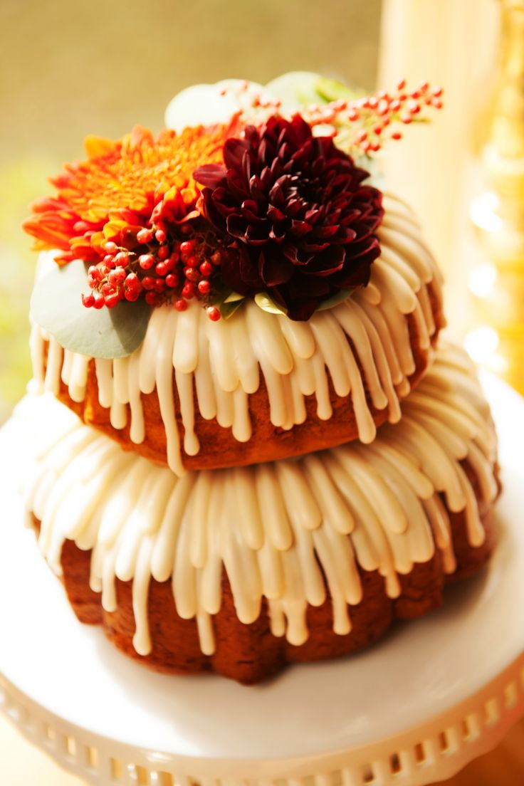 Tiered Pumpkin Spice Nothing Bundt Cakes...I love to make bundt cakes...everyone waits for them...especially the pumpkin!