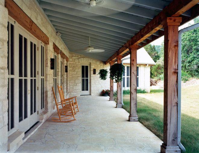 texas limestone front porch house