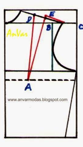 AnVar - Te enseño a coser: PINZA DE HOMBRO EN EL TRAZADO PARA BLUSAS Y CAMISA...