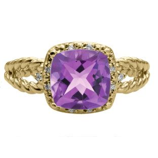 Cushion Cut Amethyst February Gemstone Yellow Gold Diamond Braided Ring Available Exclusively at Gemologica.com