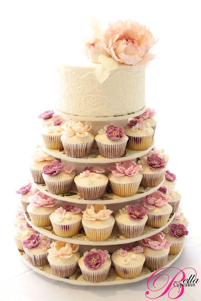 Bella Cupcakes, peony, vintage, lace