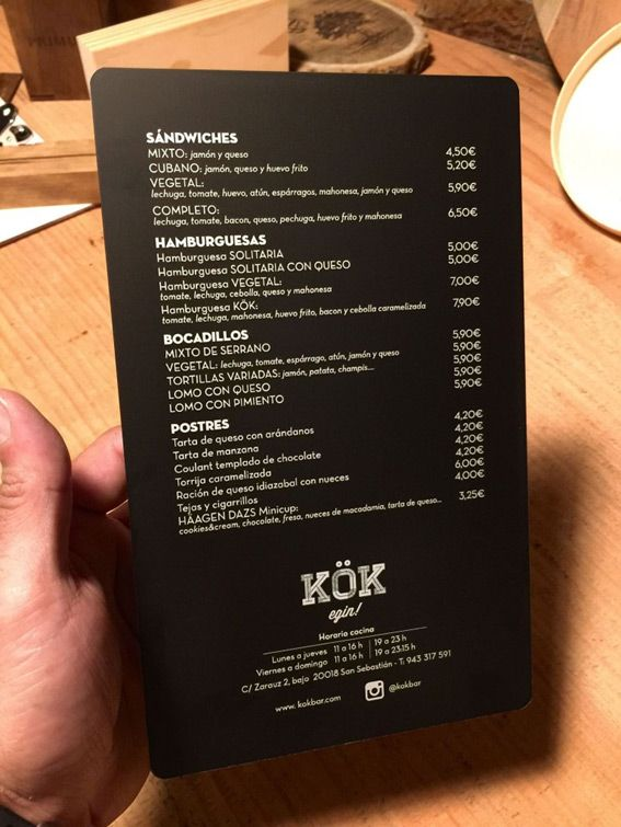carta de bar restaurante en aluminio