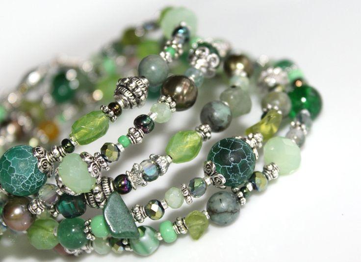 Bead Bracelet, Green Wrap Bracelet, OOAK, Colorful Layered Bracelet, Silver Stacked Bracelet, Jade Bracelet, Boho Jewelry, Gypsy Bracelet by myVardo on Etsy
