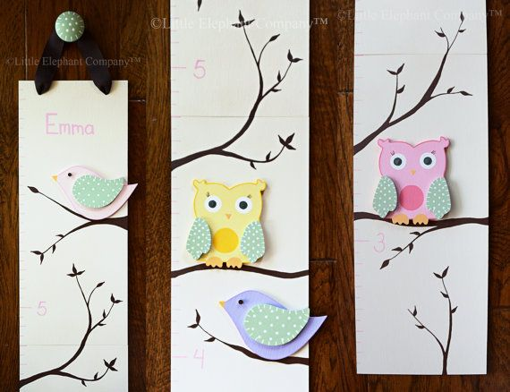 Emma Wooden Growth Chart in Cream with Owls por LittleElephantCo
