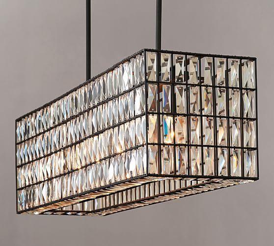 Adeline Crystal Rectangular Chandelier | Pottery Barn. ~This looks DIYable...
