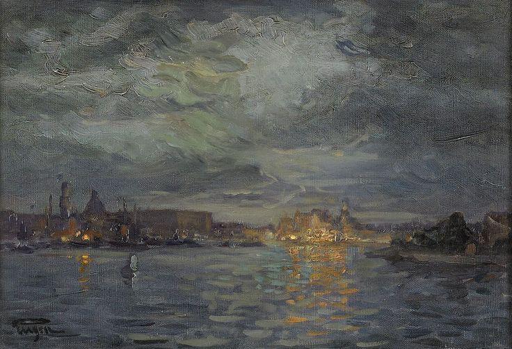 Stockholms ström. Olja på duk, 26 x 37 cm. Utförd omkring 1915
