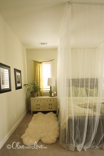 Tree Branch Curtain Rod DIY Tutorial--also love the textures...mosquito netting and flokati rug.