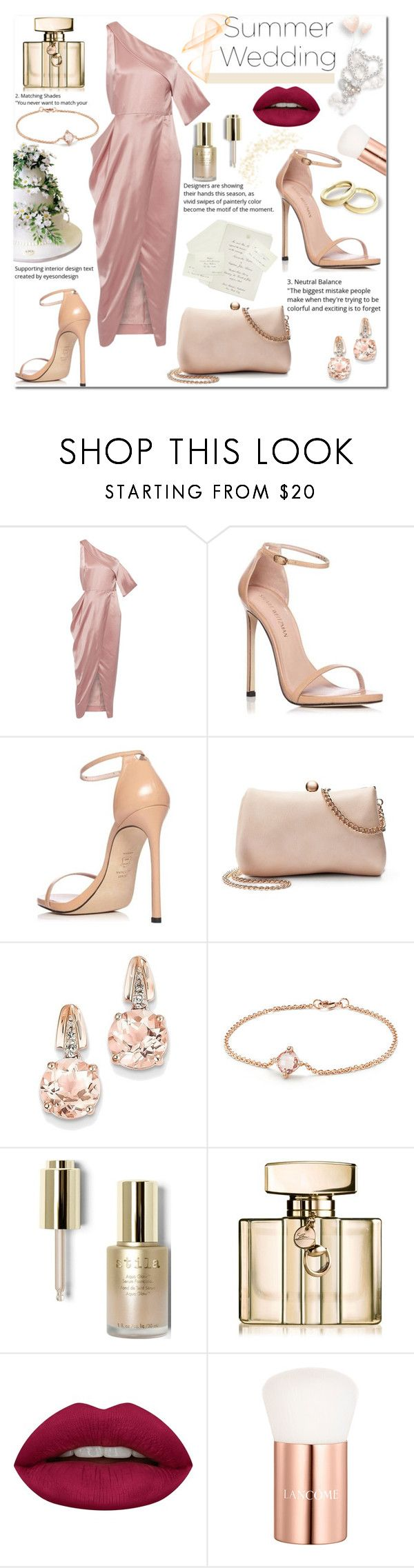 """Summer wedding"" by pengy-vanou ❤ liked on Polyvore featuring Michelle Mason, Stuart Weitzman, LC Lauren Conrad, Ultimate, BillyTheTree, David Yurman, Stila, Gucci, Huda Beauty and Lancôme"