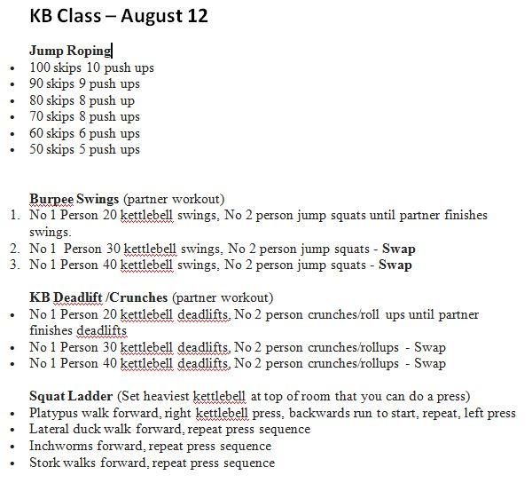 Kettlebell Cardio Circuit Class - August 12