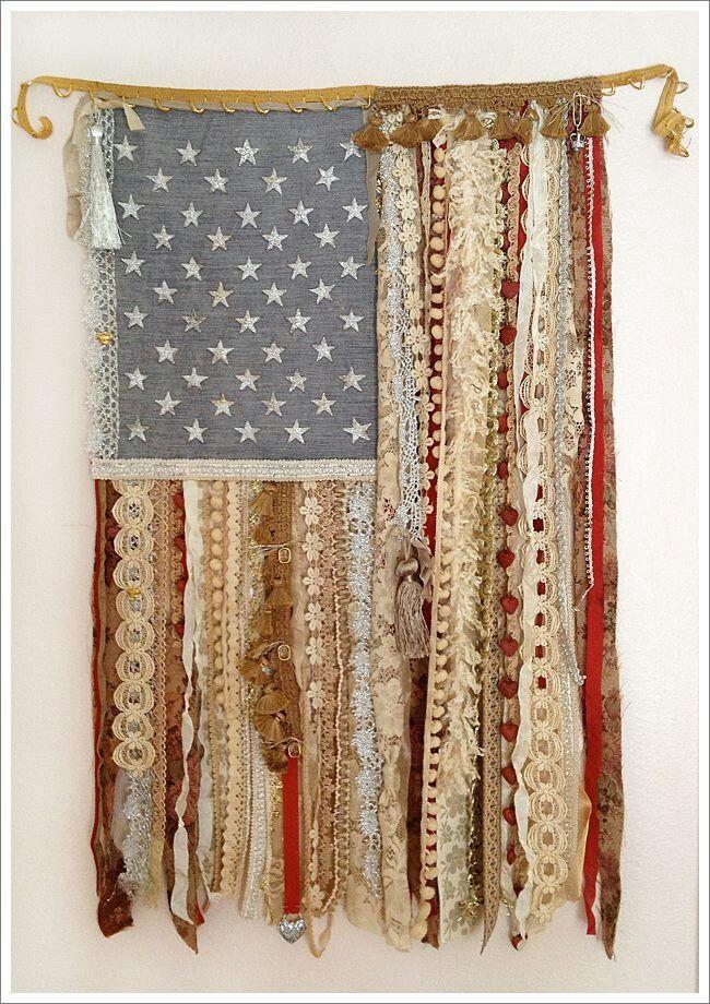 DIY window treatment or wall art - American flag ribbon DIY