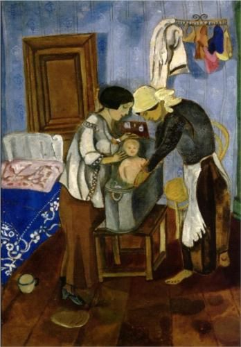 Bathing of a Baby by Marc Chagall  1916  Place of Creation: Saint Petersburg, Russian Federation  Style: Naïve Art (Primitivism)  Gallery: State Historical and Architectural Museum, Pskov, Russia