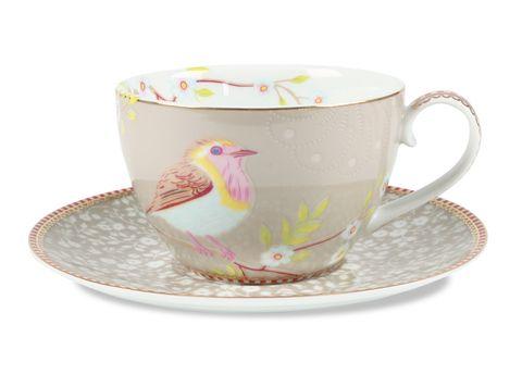 PiP Studio Porcelain - 'Early Bird' Khaki Cappuccino Cup and Saucer