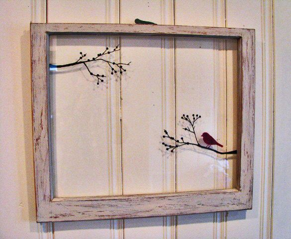 Hand Painted Old Windows | Old Window Painted - Bird on a Tree Branch Hand Painted - Antique ...